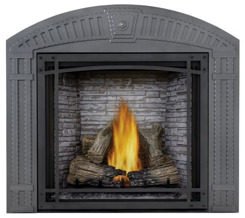 Napoleon Starfire LP Fireplace w/Log Set, Premium Barrier & Custom Blend Panels