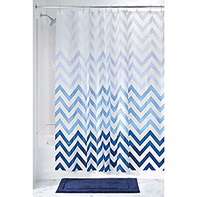 "iDesign, Blue InterDesign Ombre Chevron PVC-Free 4.8 Gauge PEVA Shower Curtain-72 x 72"", Multi Color - DECORATIVE WATERPROOF SHOWER CURTAIN: Fast-drying, waterproof design can be used on its own or paired with a fabric curtain as a liner to keep water in the shower and off of your bathroom floors MOLD AND MILDEW RESISTANT: Resists mold and mildew build up and is easy to clean with a damp cloth RUST-RESISTANT GROMMETS: Reinforced header with rust-resistant metal grommets stands up to every day use - shower-curtains, bathroom-linens, bathroom - 51FLhRL0upL. SS400  -"