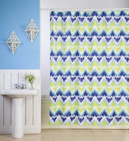 All American Collection New Zig-Zag Fabric Shower Curtain Set With 12 Roller Ball Hooks (Blue)