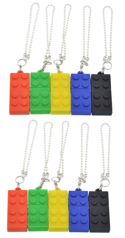 FEBNISCTE 50 Pack 4GB USB 2.0 Memory Stick Building Bloc Design with Key Ring - 5 Mix color: Red Green Yellow Blue Black by FEBNISCTE