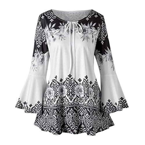 Fashion T-Shirts for Womens Blouses Keyhole Plus Size Printed Flare Sleeve Tops
