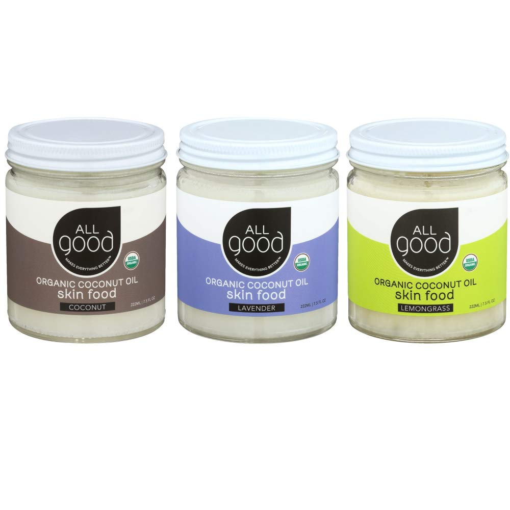 All Good Organic Coconut Oil Skin Food - Natural Moisturizing Skin Care (Lemongrass, Coconut, Lavender)(3-Pack)