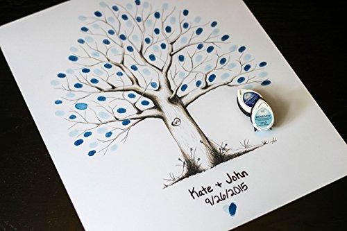 Fingerprint Tree custom wedding guestbook - Original thumbprint guest book alternative (Medium Size Monochrome) includes 2 ink pads!! by LunsfordPencilArt