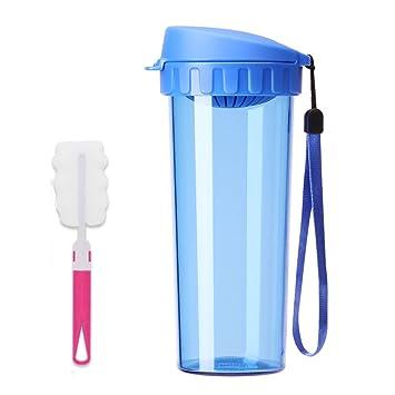KLWJ Hervidor de plástico,Botella de agua transparente,Vaso de 500ml Con taza tapa