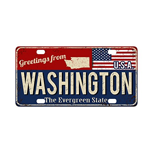 InterestPrint Washington the Evergreen Rusty Metal Sign with USA Flag Automotive Metal License Plate Cover, Car Tag for Woman Man- 12