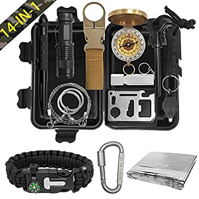XMQY Pocket Survival Kits - Boy Scout Gifts First Aid Kit Camping Gear Emergency Tools Car Gadgets Multitool Hiking Hunting Accessories Christmas Day Birthday Presents Son Him Men from XMQY