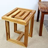 Teak Maze Spa Stool 12x15.5x16 inch H Farmed Teak Hand Dowel in Natural Teak Oil