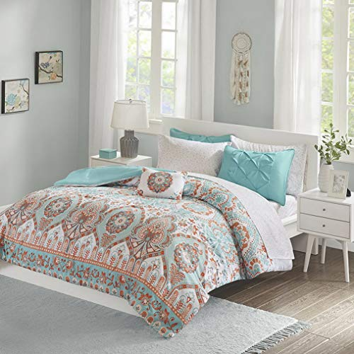 (Kaputar Beautiful Modern Chic Blue Aqua Orange Global Bohemian Comforter Set Sheets | Model CMFRTRSTS - 2071 | Twin Extra Long)