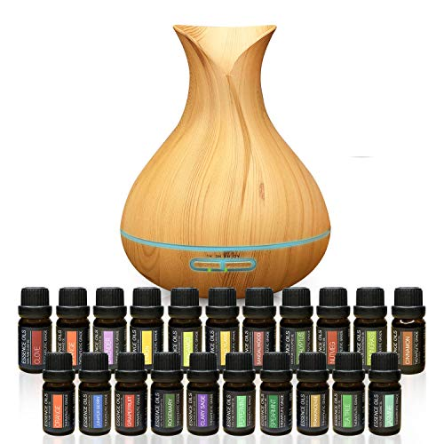 Ultimate Aromatherapy Bundle - 300ml Ultrasonic Diffuser with 20 Essential Plant Oils - 4 Timer & 7 Ambient Light Settings - Therapeutic Grade Essential Oils