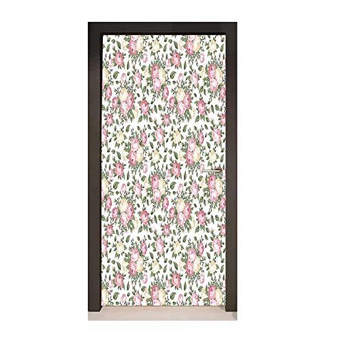 - House Decor Art Door Decals Roses Rosebuds Leaves Bouquet Flower Arrangements Bridal Victorian Style Art for Living Room Decoration,W23.6xH78.7
