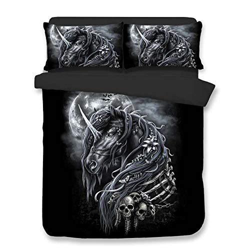 Queen Imprisoned (alibalala Polyester Black 3D Bedding Set Full Size - Imprisoned Unicorn Digital Printing 3-Piece Comforter Sets for Boys & Girls Bedroom Décor (Queen))
