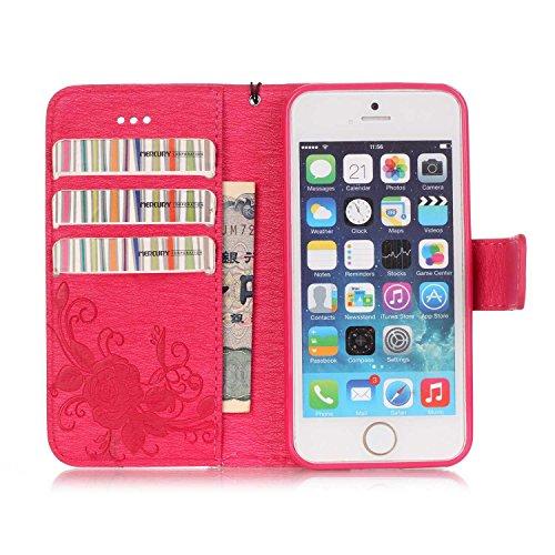 Meet de pour Apple iPhone 5S / iphone SE Case, Gedruckte Schmetterling Folio pour Apple iPhone 5S / iphone SE PU Housse / Wallet / flip étui / Pouch / Case / Holster / Wallet / Case en cuir Wallet Sty