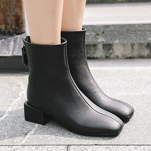 Latasa Dames Vierkante Neus Dikke Hak Korte Laarzen Zwart