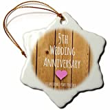 rfy9u7 3-Inch Porcelain Snowflake Decorative Hanging Ornament, 5th Wedding Anniversary Gift Wood Celebrating 5 Years Together Fifth Anniversaries