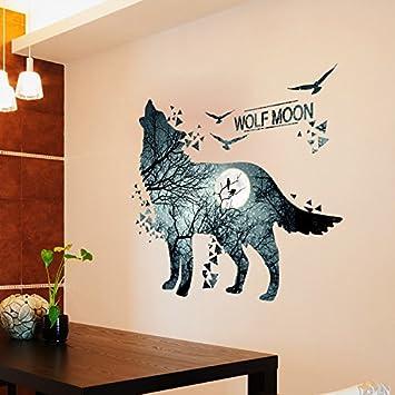 GOUZI Dekorative Wand Poster Schlafzimmer Tapeten Wolf Mond Kreative  Abnehmbare Wall Sticker Für Schlafzimmer Wohnzimmer Hintergrund