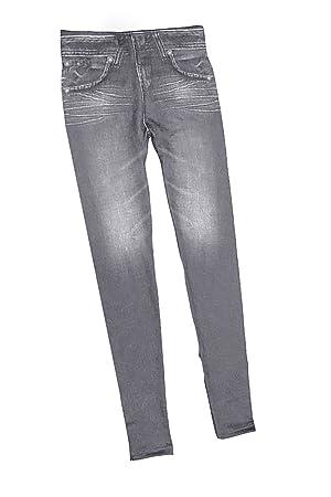 Vococal Pantalones Vaqueros Imitado Inconsútil de Leggings para Mujeres con Bolsillos,Color Gris(L)
