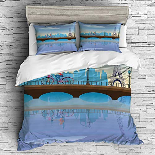 3 Pieces (1 Duvet Cover 2 Pillow Shams)/All Seasons/Home Comforter Bedding Sets Duvet Cover Sets for Adult Kids/Queen/Landscape,Lady Cycling in France Fluffy Clouds Bridge Reflection on River Urban Li