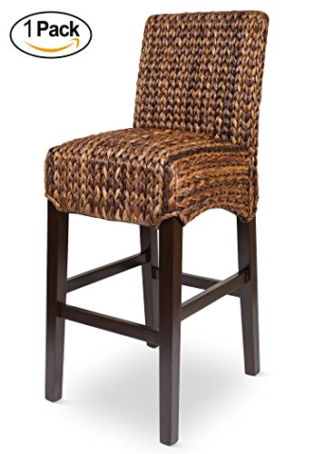 Bird Rock Seagrass Barstool (Bar Height) | Hand Woven | Mahogany Wood Frame | Fully Assembled (Seagrass Counter Stools)