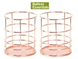 BaHoki Essentials (Set of 2) 4'' Rose Gold/Copper Wire Pencil Holders with Mesh Bottom - Desk Accessories