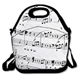 WSXEDC Black Music Notes Printing Lunch Bags/Waterproof Lunch Box Tote Handbag,Durable Reusable Adjustable Shoulder Strap Picnic Bag,Easy Carry To School/Office/Picnic For Children Women Men