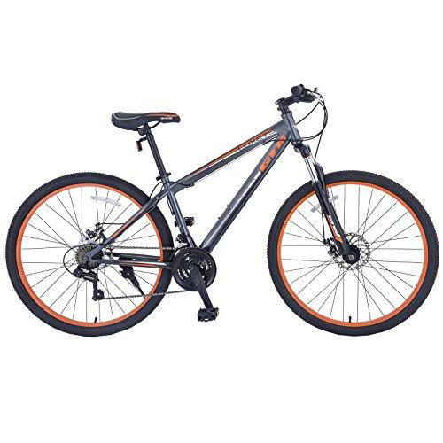 Murtisol Mountain Bike 27.5 inches Hybrid Bicycle with Suspension Fork,21 Speed,Dual Disc Brake,Grey Orange/Black