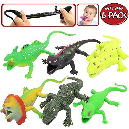 Rubber Lizard Figure Realistic Replica Sets(6 PACK),Food Grade Material TPR Super Stretchy,With Gift Box Learning Card-Bathtub Bath Squishy Toy-Frilled Lizards Iguana Gecko (Squishy Lizard)