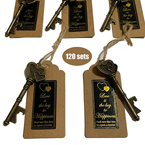 (Key Bottle Openers 120 packs- with Escort Tag Card, Love is the Key to Happiness Sticker, Wedding Party Favors, Thanksgiving, Baby Shower and Special Events Decoration (Bronze Double Heart Style))