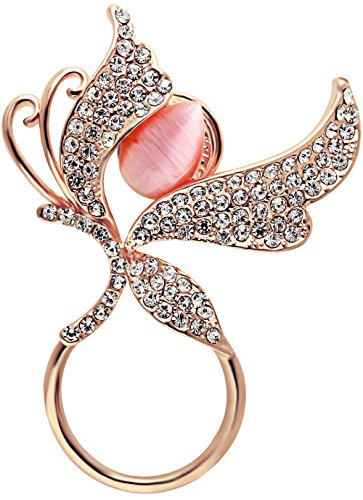 Stone Natural Brooches - SENFAI 3 Tone Butterfly Insect Wings Cat Eye Natural Stone Charm Eyeglass Holder Brooch (Rose Gold)