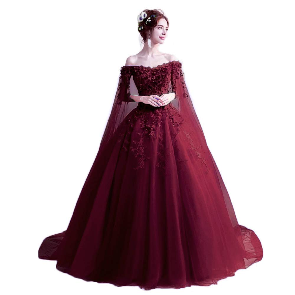 Dark Red LEJY Women's Off The Shoulder Quinceanera Dresses Applique Masquerade Ball Gowns Prom Dresses
