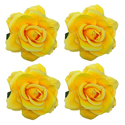 Sanrich 4pcs/pack Mexican Hair Flowers Fabric Rose Hair Flowers Clips Hairpin Brooch Hair Accessory Wedding Party Headpieces - Rose Yellow Brooch