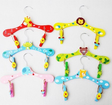 Hot Mixed Wood Cute Animal Cartoon Baby Children Coat Clothes Hooks Hangers For Clothes by Prona Store