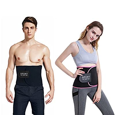 "SNORSO Slimming Sweat Waist Trimmer Belt,Neoprene Abdominal Trainer Low Back Support Weight Loss Belt with Sauna Effect for Men & Women,Waists Up To 50"""