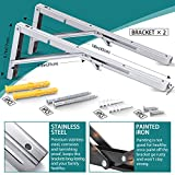 Folding Shelf Brackets,Max Load 440lb Folding Shelf Hinge Wall Mounted, Heavy Duty 304 Stainless Steel Collapsible Shelf Bracket,Space Saving DIY Bracket for Table Work Bench,Pack of 2