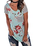Kbook Women's Summer Floral Print Striped Short Sleeve Shirt Casual Blouse with Pocket