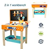 TOP BRIGHT Tool Bench Set Kids Toy Play Workbench for Toddler Workshop, Wooden Construction Bench for Boy Girl Gifts 3 Year Old and Up