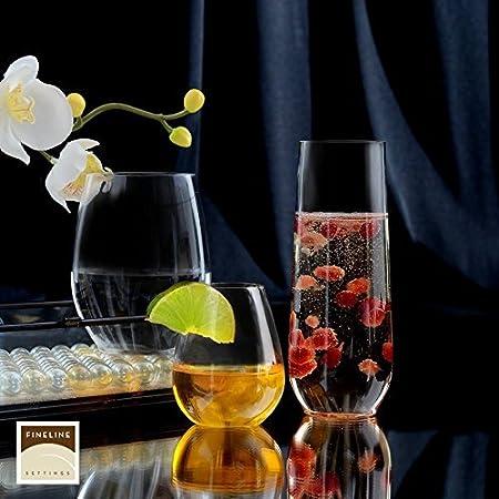 Juego de 6 copas de vino de plástico livianas sin tallo, transparentes y sin roturas, 340 ml