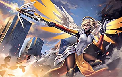 Xxw Artwork Overwatch Mercy Poster Characterssupport Type Prints Wall Decor Wallpaper 38x24 Inch