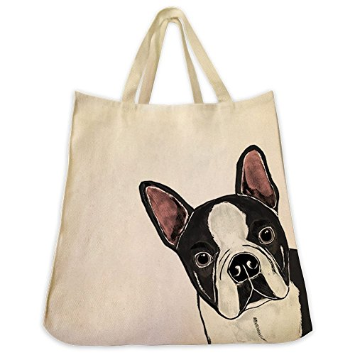 Boston Terrier Dog Extra Large Eco Friendly Reusable Cotton Twill Grocery Shopping Tote Bag (Scottish Terrier Dog Names)