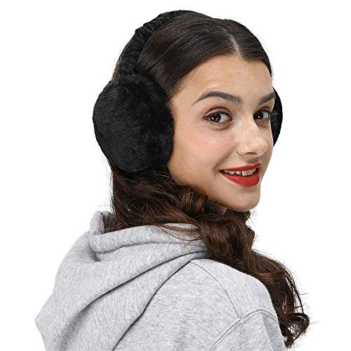 LETHMIK Faux Fur Ear Warmers,Outdoor Foldable Winter Earmuffs Womens&Mens Earlap Warm Ear Protection Black
