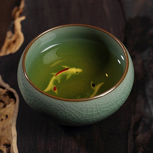 - 2Chinese Longquan Celadon Golden Fish Teacups Tea Maker Cup Caneca China Porcelain Tea Cups Crackle Tea Set Tea Pot