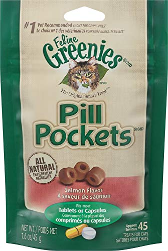 Greenies Pill Pockets Cat Treats, Salmon, 1.6 Ounce, 6 Pack