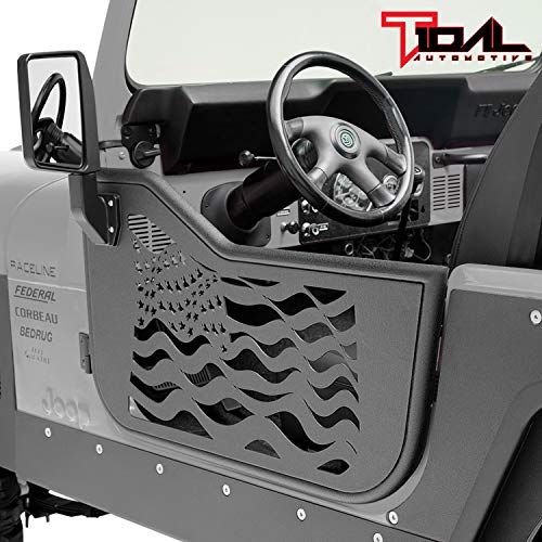 Tidal US Flag Tubular Door Left Right with Mirror for 76-95 Jeep Wrangler CJ7/YJ