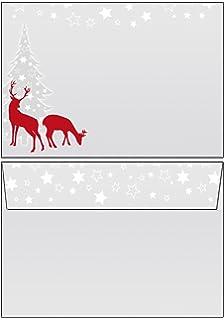 Weihnachten rotWild Reh grau rot Motivpapier Briefpapier 50 Blatt A4+50 Kuverts