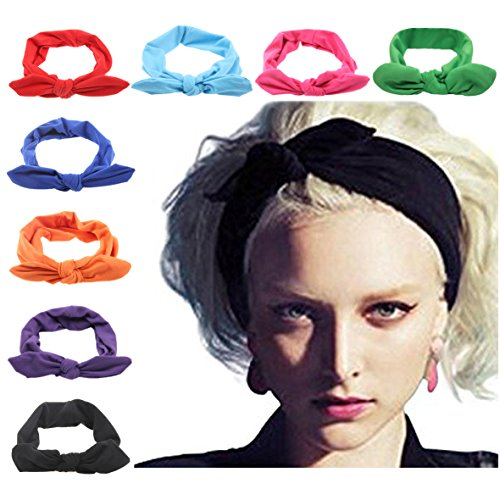 DRESHOW 8 PCS Women Turban Headbands Headwraps Hair Bands Bows Accessories,One Size,Bow Style A, 8 Pack (Long Scarf Headband)