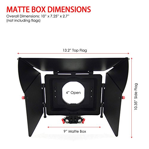 Kamerar Professional DSLR Matte Box: Universal Donut / adjustable height 15mm Rod Clamp / 2x Side Flags / 1x Top Flag / 1x 4x4 Filter Tray by Kamerar