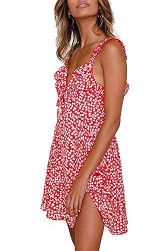 Alelly Floral Sans Manches Imprimé Été Des Femmes V Jabot Cou Mini Swing Ligne Robe Rouge