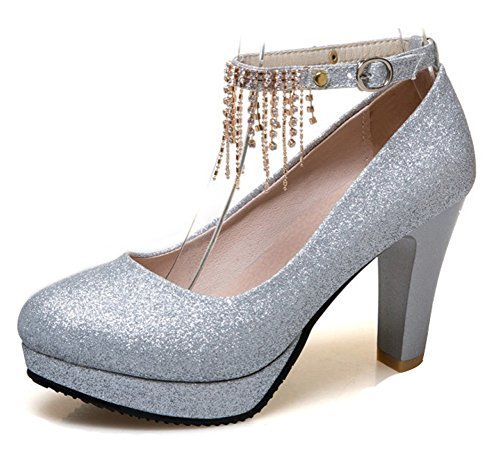 Aisun Womens Elegant Dressy Buckled Rhinestone Round Toe Chunky High Heel Platform Pumps Shoes With Ankle Strap Silver