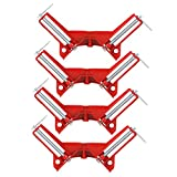 Yaetek 4PCS 90 Degree Right Angle Miter Corner Clamp 3'' Capacity Picture Frame Jig Tool Holder Woodwork -RED