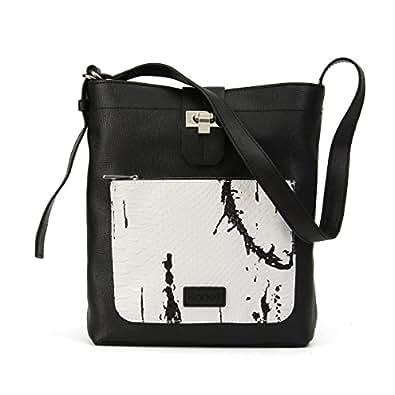 Kadell Women Leather Shoulder Bags Purse Hobo Satchel Bag Cross Body Handbag Messenger Black with Ink