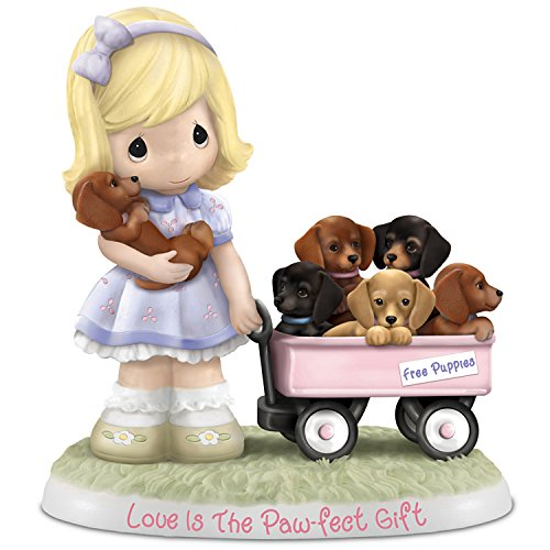 The Hamilton Collection Precious Moments Love is The Paw-FECT Gift Figurine with Six Dachshunds